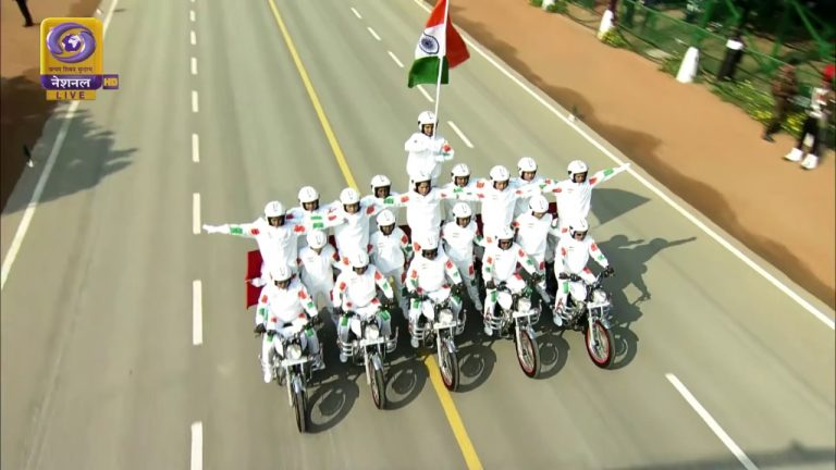 Daredevil bike stunts by the CRPF personnel at the Republic Day Parade 2020