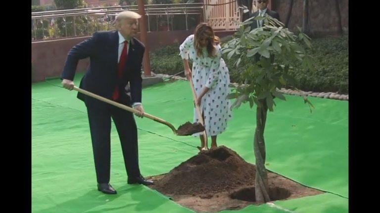 US President Donald Trump & First Lady Melania Trump Planting a Tree at Rajghat